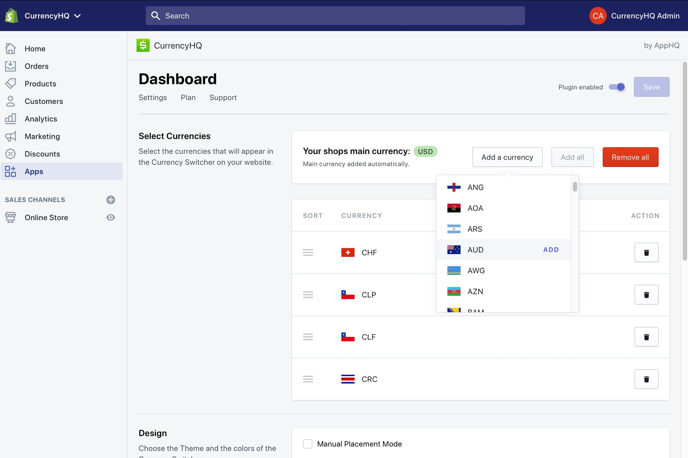 CurrencyHQ back-end dashboard